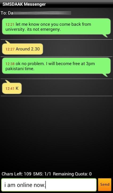 SMSDAAK. Free SMS to Pakistan. screenshot 6