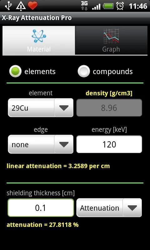 X-Ray Attenuation Calc. Free screenshot 1