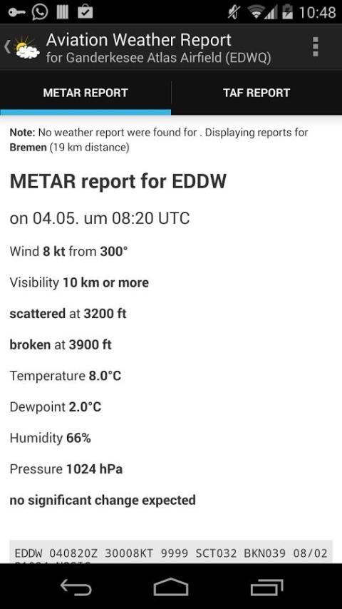 Aviation weather (METAR / TAF) screenshot 3